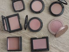 From top left: NYX Taupe, MAC Tenderling, MAC Harmony.  Middle left: Nars Doucer, MAC Blush Baby,  Tarte Exposed. Bottom left: Benefit Dallas, Nars Sin