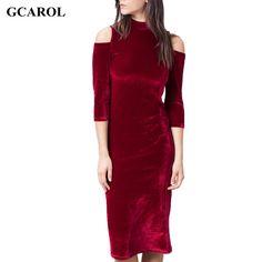GCAROL Women Off The Shoulder Sexy Dress Euro Style Velvet Dress Smooth Stretch Slim Spring Autumn Winter Close Fitting Dress
