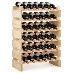 Shop Gymax 36 Bottle Modular Wine Rack 6 Tier Stackable Wooden Display Shelves Wobble-Free - Natural - On Sale - Overstock - 30088517 Wine Bottle Rack, Bottle Display, Wooden Decor, Wooden Diy, Wine Rack Inspiration, Wine Rack Design, Wine Rack Storage, Wood Wine Racks, Display Shelves
