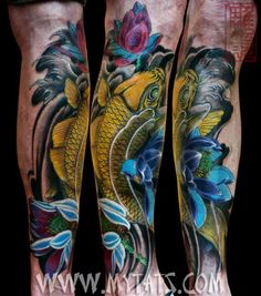 Koi on leg, done by Jess Yen (Horiyen) 初代彫顔の作品 - 黄金鯉 [jess@mytats.com]