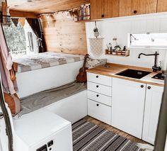Cozy Home made CamperVan Exploring Europe. Van Living, Tiny House Living, Cozy House, Camper Life, Camper Van, Bus Life, Rv Campers, Camper Trailers, Van Conversion Interior