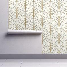 Art Deco Wallpaper Burst Gold On White By Anvil Studio Art | Etsy