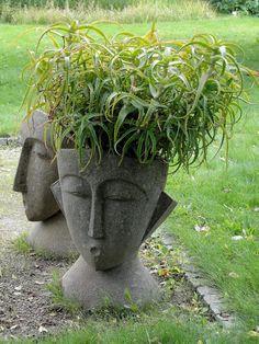 5 Spiritual ideas: Garden Landscaping With Stones Stairs big garden landscaping fence.Rock Garden Landscaping Back Yards. Face Planters, Cement Planters, Garden Planters, Succulents Garden, Container Plants, Container Gardening, Yard Art, Garden Projects, Garden Inspiration