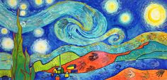 Take a closer look! Inspired from The Starry Night by Vincent van Gogh . Definitely not what you think... What do you see in the paint...