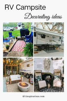 Decorating ideas for your RV patio or campsite that will inspire you to create a relaxing outdoor living space at your RV park, campground, or boondocking spot.   RVinspiration.com   #RVpatioideas #RVpatiodecoratingideas #campsitedecoratingideas #RVcampsitedecoratingideas Camping Set Up, Travel Trailer Camping, Camping Life, Rv Life, Rv Camping, Camping Setup Ideas, Rv Travel, Camping Hacks, Campsite Decorating