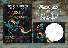 My Little Pony Rainbow Dash Birthday Invitation and thank you card | PapelPintadoDesigns - Digital Art on ArtFire