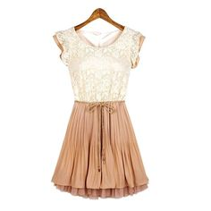 Lace Splicing Occident Style Scoop Neck Short Sleeve Women's Dress, AS THE PICTURE, L in Casual Dresses | DressLily.com