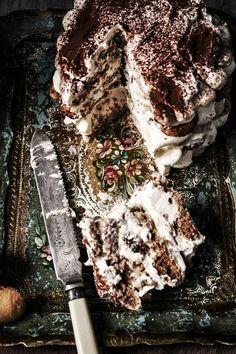 Tiramisu cake with hazelnut dacquoise and lady fingers