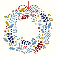 A Christmas wreath illustration designed for a range of greeting cards for Blackolive.