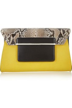 Mary Katrantzou|Python and textured-leather clutch|NET-A-PORTER.COM
