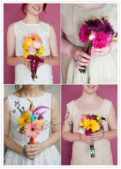 DIY bouquets. make after the rehearsal, each bridesmaid making her own. very personal and unique :)