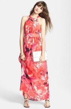 2015 New summer dress A-Line Print Off the shoulder Empire Ankle-Length Cotton Voile party maxi long  women dress