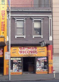 https://flic.kr/p/CmG9hr   Batman Records Swanston St, Melbourne  1985   Built 1856 but not by John Batman. Melbourne Central Activities District (CAD) Conservation Study 1985 survey images: approx 1200 Kodak colour negatives