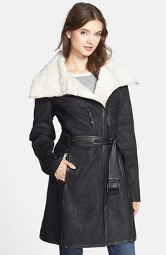 super cute faux shearling AND faux suede asymmetrical coat!