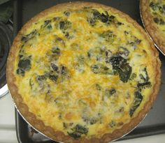 Braising Greens, Mushroom, and Bacon Quiche