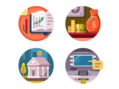 Financial institution icons by Kit8 #Design Popular #Dribbble #shots
