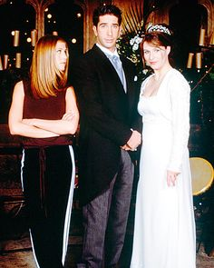 """Friends' Emily Waltham  The gang gathered together in London to see Ross Geller (David Schwimmer) wed Emily Waltham (Helen Baxendale) during Friends' two-part 1998 special. Emily wore a lace bolero over her ivory column gown, but the bride was upstaged by Ross' famous vow, """"I, Ross, take thee, Rachel..."""""""