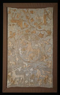 Switzerland    Panel, 15th century    Linen, plain weave; embroidered with silk and linen in Roumanian and stem stitches; laid work and couching  97.8 x 56.2 cm (38 1/2 x 22 1/8 in.)