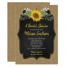 #Rustic Sunflower Burlap Chalkboard Bridal Shower Card - #wedding gifts #marriage love couples