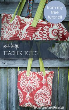 I've been 'sew busy' sewing Teacher Totes! {free tutorial} — SewCanShe | Free Daily Sewing Tutorials