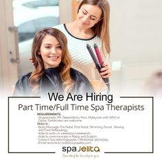If you have the skills when it comes to performing treatments related to slimming, facial, waxing, and foot reflexology; flexible in work schedules, and; able to communicate using Malay and English language, then visit SpaJelita today for you might be the one we're looking for!  Contact us at 63454565 or via WhatsApp (96274799) and email your resume to fadilah@spajelita.com. Reflexology Massage, Foot Massage, Facial Waxing, We Are Hiring, English Language, Flexibility, Resume, Things To Come, English People