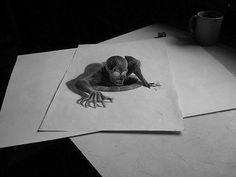 Animals Pencils Drawings Images - After an amazing illustrations' project, Belgian artist Ben Heine is back with a perception game in produced only with a pencil and a. 3d Pencil Art, 3d Pencil Sketches, Pencil Drawings Of Girls, Love Drawings, Easy Drawings, 3d Sketch, Pencil Design, Drawing Techniques, Drawing Tutorials