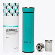 "– BREW AS YOU GO – For the free spirit, and thoughtful entertainer. FRESSKO'S RECOMMENDED USES: Tea, Coffee, Fruit-Water, Smoothies, Detox Recipes, Water and Juices. This stylish, chemical-free, hard coated stainless steel flask with a silver lined glass inner, which includes Fressko's 2-in-1 ""Infuse"" Filter, is the perfect companion for creating your favorite fruit-infused cocktail, brewing your special tea blend or simply mixing your coffee; all while you BREW AS YOU GO. DIRECTIONS OF USE…"