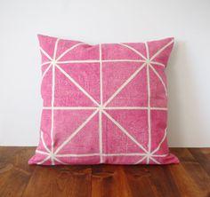 Geo Pillow Cover  Fuschia / Magenta Pink  Block