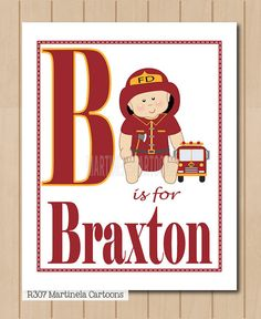 Nursery Art Print   Fireman 8x10 Personalized Firefighter Baby Room Decor | Firefighter  Baby, Firemen And Nursery Art