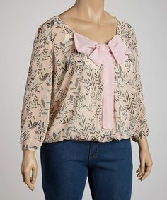 Take a look at this Pink Feather Bow Top - Plus by Rachel and Chloe on #zulily today!