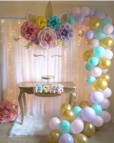 Unicorn birthday party decorations - Insanely Cute Unicorn Party Ideas to Help You Create Your Kid's Most Memorable Birthday – Unicorn birthday party decorations Unicorn Themed Birthday Party, First Birthday Parties, Birthday Party Decorations, Girl Birthday, Birthday Backdrop, Birthday Table, 7th Birthday Party For Girls Themes, Flower Birthday, 10th Birthday