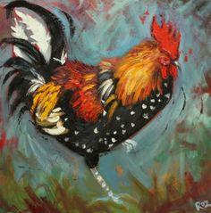 Rooster Painting - Whimsical Fine Art by Roz