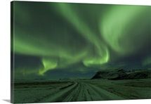 Northern Lights, Aurora Borealis, Winter road with snow, Iceland