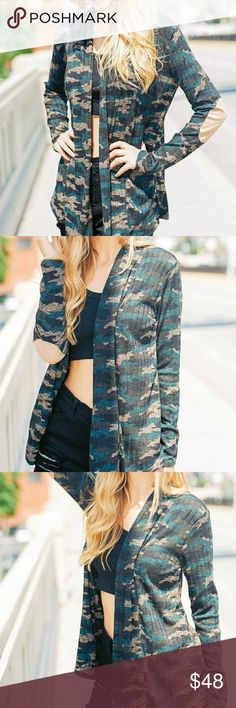 CAMOUFLAGE LONG SLEEVE ARMY PRINT CARDIGAN CAMO POLYESTER SPANDEX LONG SLEEVE ARMY PRINT CARDIGAN WITH SUEDE ELBOW PATCH DETAIL MADE IN USA Cezanne Sweaters Cardigans