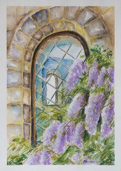 Flowers Original Watercolor Painting Aquarelle Still by PDisanska