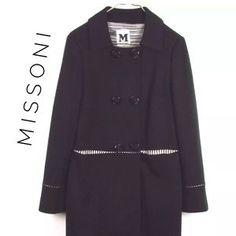 Missoni -  Black Missoni coat with striped lining