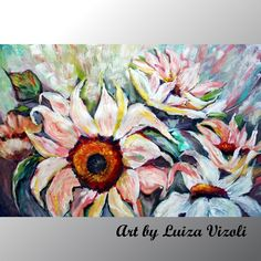 Painting Original White Flowers Original Contemporary Textured Floral art by Luiza Vizoli Oil Painting On Canvas, White Flowers, Flower Art, Mists, Modern Art, Original Paintings, Vibrant, Tapestry, Texture