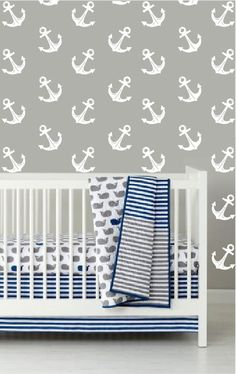 wall decals - Anchor decals - Modern Nautical Anchor Sailor Pattern - Wall Decal Custom Vinyl Art Stickers on Etsy, $42.00