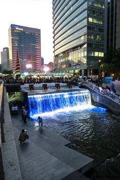 cheonggyecheon stream at night #seoul #korea