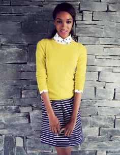 l like the pop of color, though the sweater would be too warm for spring. I love the color combo's Boden combines Boden