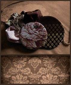 #necklace #jewelry #fabricsjewelry #handmade #fashion #style #unique #vintage #accessories #pearls #floral #retro #brown #fabrics