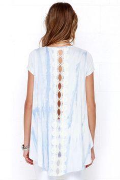 Tie-Dye Top - Lace Top - Swing Top - Blue Top - $42.00