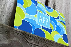 Blue & Green Circle Monogrammed Stationery