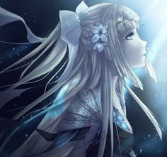 Moonlight - flowers, beautiful, ribbon, pretty, beauty, night, white hair, anime, female, girl, lady, woman, moonlight, long hair, lovely, light, tie, anime girl, dress