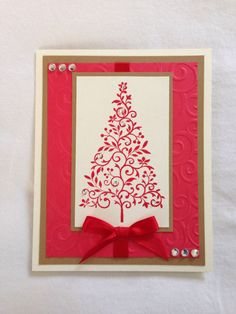 Handmade card, Christmas handmade card, Christmas tree, red