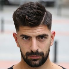 Hard Spiky Side Part with Low Fade and Beard