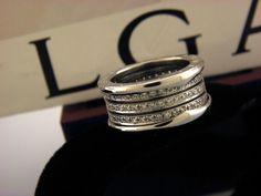 bvlgari bulgari bzero1 white gold 18kt four band pave diamond ring sz 55