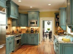 Kitchen cabinets in Duck Egg Blue Annie Sloan Chalk Paint Turquoise Kitchen Cabinets, Country Kitchen Cabinets, Rustic Cabinets, Kitchen Cabinet Colors, Kitchen Cabinetry, Kitchen Colors, Blue Cabinets, Wood Cabinets, Kitchen Layout