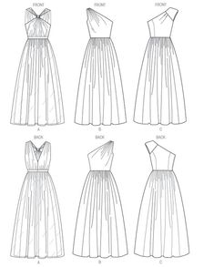 Newest Photos sewing dresses evening Ideas Butterick 5987 Misses' Dress Line Drawing Dress Design Sketches, Fashion Design Drawings, Wedding Dress Sketches, Fashion Illustration Sketches, Fashion Sketches, Design Illustrations, Fashion Drawing Dresses, Fashion Dresses, Dresses Dresses