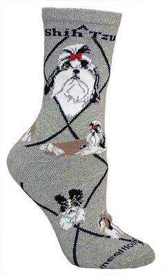 Shih Tzu Socks $10.95 .They look like my Gizmoe :)... haha mom i want these for CHRISTMAS!!!